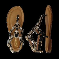 Sandali gioiello flat neri in eco-pelle, Primadonna, 134988245EPNERO036, 003 preview