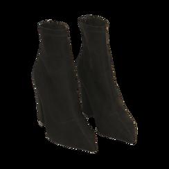Ankle boots en microfibre noir, talon 9 cm, Primadonna, 164823107MFNERO035, 002 preview