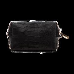 Trousse nera in velluto, Saldi Borse, 125921682VLNEROUNI, 002 preview