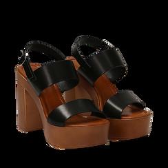 Sandali platform neri in eco-pelle con due fasce, tacco 12 cm , Saldi Estivi, 132147761EPNERO035, 002a