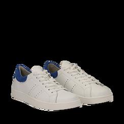 Sneakers bianche in vera pelle e dettaglio blu in camoscio, Scarpe, 131611783PEBIBL035, 002a