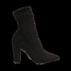 Ankle boots a punta neri in microfibra, tacco 10 cm , Stivaletti, 142172633MFNERO035, 001a