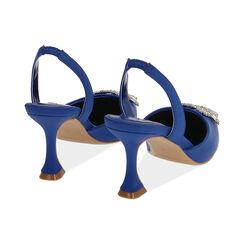Slingback blu in raso, tacco 8 cm , Primadonna, 172119081RSBLUE035, 004 preview