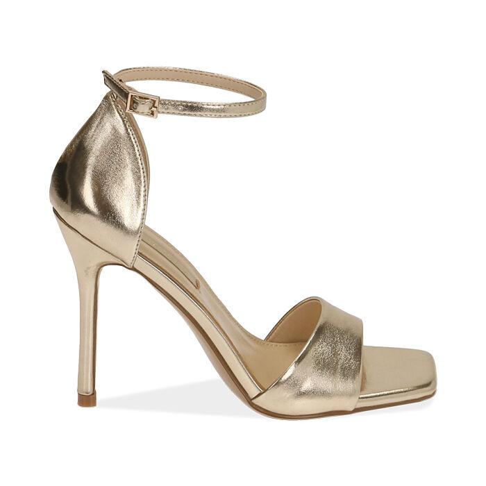 Sandali oro laminato, tacco 11 cm , Primadonna, 172114210LMOROG036