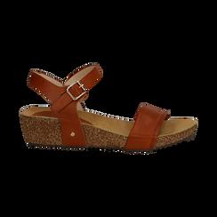 Sandali platform cuoio in eco-pelle, zeppa in sughero 4 cm , Saldi, 132161102EPCUOI036, 001 preview