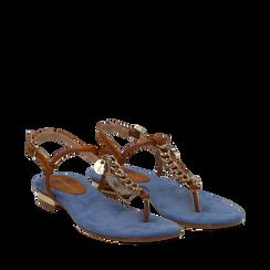 Sandali infradito flat azzurri in microfibra con catenelle, Scarpe, 134909952MFAZZU035, 002a