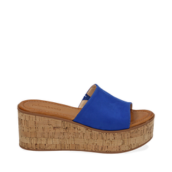 Ciabatte blu cobalto in microfibra, zeppa 7,50 cm , Zapatos, 154968121MFBLCO039, 001a