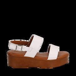 Sandali platform bianchi in eco-pelle, zeppa 5 cm , Saldi Estivi, 13A133254EPBIAN035, 001a