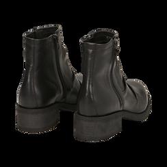 Biker boots neri in pelle, tacco 4 cm , Stivaletti, 147718220PENERO036, 004 preview