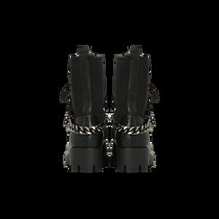 Anfibi neri con dettagli metal, tacco basso, Scarpe, 122946710EPNERO, 003 preview