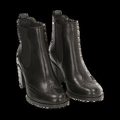 Ankle boots neri in pelle, tacco 7,50 cm, Primadonna, 167738004PENERO035, 002 preview
