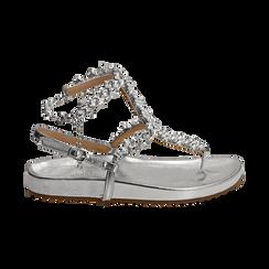Sandali infradito gioiello argento in eco-pelle laminata, Chaussures, 154951992LMARGE036, 001 preview