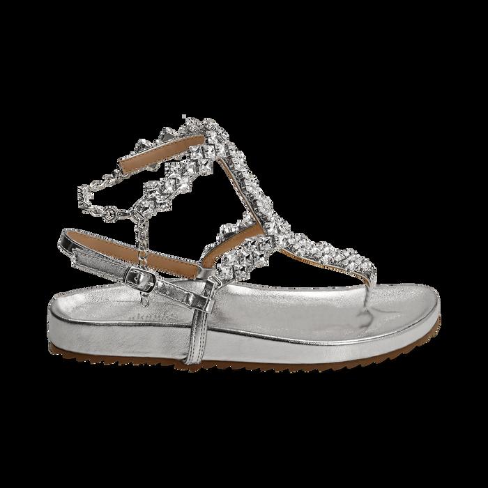 Sandali infradito gioiello argento in eco-pelle laminata, Chaussures, 154951992LMARGE036