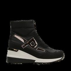 Sneakers a calza nere in tessuto tecnico, zeppa 6 cm , Scarpe, 14A718203TSNERO035, 001a