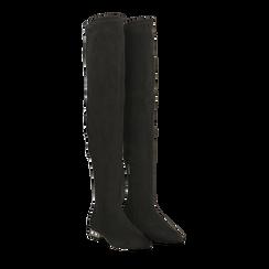 Stivali sopra il ginocchio flat con tacco gioiello, Primadonna, 124911281MFNERO038, 002 preview