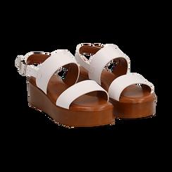 Sandali platform bianchi in eco-pelle, zeppa 5 cm , Saldi, 13A133254EPBIAN036, 002 preview