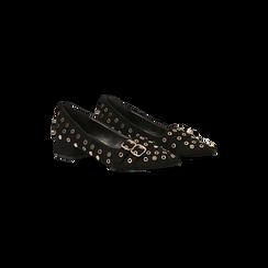 Décolleté a mocassino nere con borchiette, tacco 3 cm, Primadonna, 124952202MFNERO, 002 preview