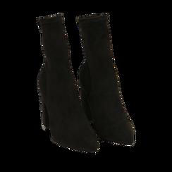 Ankle boots neri in microfibra, tacco 9,50 cm , Primadonna, 163026535MFNERO036, 002a