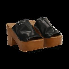 Mules nere in eco-pelle, tacco 9 cm , Primadonna, 134956581EPNERO035, 002 preview