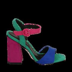 CALZATURA SANDALO MICROFIBRA BLUE, Chaussures, 152133411MFBLUE036, 001a