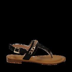 Sandali infradito neri in eco-pelle con catenella, Primadonna, 134988163EPNERO035, 001a