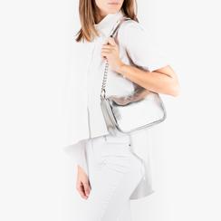 Petit sac porté épaule argenté en simili-cuir brillant, Sacs, 155127201LMARGEUNI, 002a