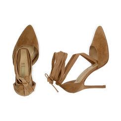 Escarpins à lacets cognac en microfibre, 11 cm, Chaussures, 172168652MFCOGN036, 003 preview