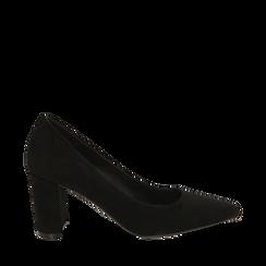 Décolleté nero in microfibra, tacco 7,50 cm , Primadonna, 162187081MFNERO037, 001a