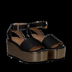 Sandali platform neri in eco-pelle, zeppa oro 7,50 cm , Scarpe, 115181925EPNERO036, 002a