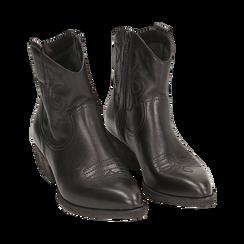 Camperos neri in pelle, tacco 4 cm, Primadonna, 157732901PENERO036, 002 preview