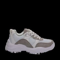 Dad shoes bianche in nylon con dettagli metallizzati, Scarpe, 130101402NYBIAN036, 001a