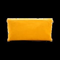 Pochette gialla in microfibra scamosciata, Saldi Borse, 123308714MFGIALUNI, 002 preview
