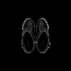 Tronchetti neri con dettagli metal, tacco 6 cm, Scarpe, 129315813EPNERO, 004 preview