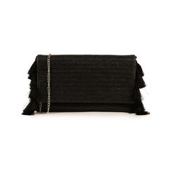 Pochette nera in raffia, Borse, 155122434RFNEROUNI, 001 preview