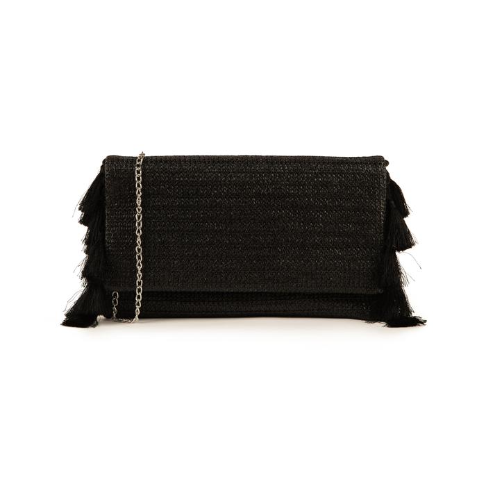 Pochette nera in raffia, Borse, 155122434RFNEROUNI