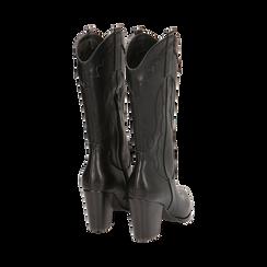 Santiags noirs, talon 8,5 cm, CHAUSSURES, 170581021EPNERO037, 003 preview