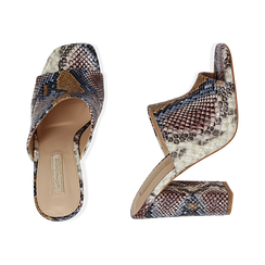 Mules blu/beige in eco-pelle snake print, tacco 10,50 cm, Zapatos, 152709445PTBLBE036, 003 preview