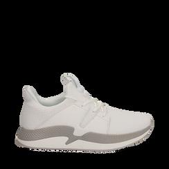 Sneakers bianche in tessuto tecnico e suola wave, Scarpe, 132619310TSBIAN035, 001a