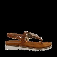 Sandali infradito cuoio in eco-pelle con suola bianca, Scarpe, 134922304EPCUOI035, 001a