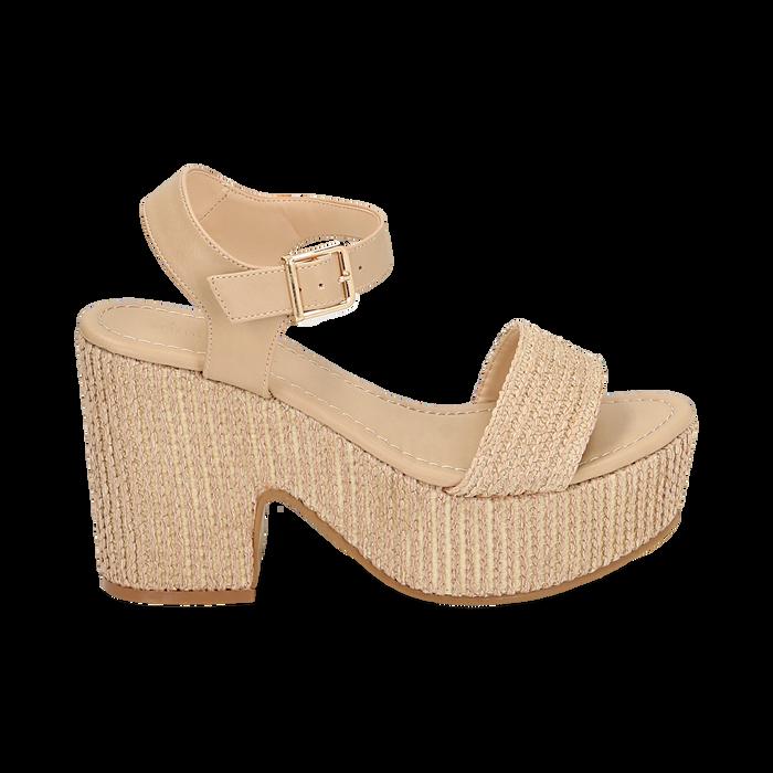 Sandali beige in rafia, tacco-zeppa 10 cm , Chaussures, 154955172RFBEIG036