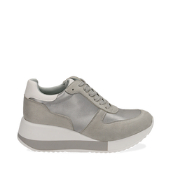 Dad Shoes en satin gris, Chaussures, 152821511RSGRIG036, 001a