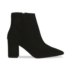 Tronchetti neri in vero camoscio, tacco 8 cm, Primadonna, 12D614011CMNERO, 001 preview