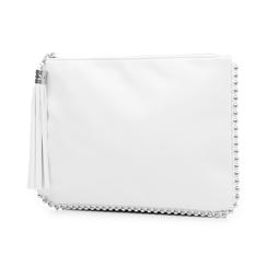 Bustina bianca in eco-pelle con profilo di mini-boules, Borse, 113308956EPBIANUNI, 004 preview