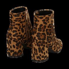 Ankle boots leopard in microfibra, tacco 7,5 cm , Stivaletti, 142762715MFLEOP037, 004 preview