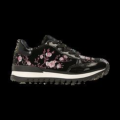 Sneakers nere con ricami floreali velluto, Scarpe, 121617734VLNERO, 001 preview