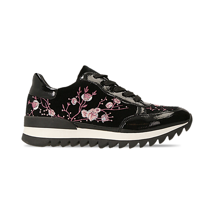 Sneakers nere con ricami floreali velluto, Scarpe, 121617734VLNERO