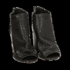 Botines open toe en vitello color negro, tacón 9 cm, Zapatos, 15A217013VINERO036, 002a