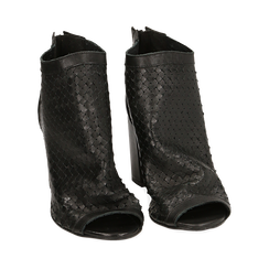 Botines open toe en vitello color negro, tacón 9 cm, 15A217013VINERO035, 002a