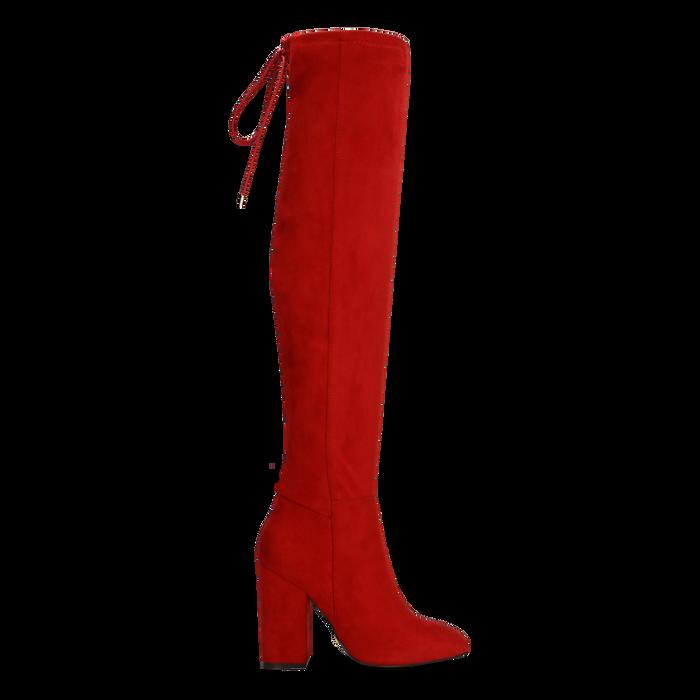 Stivali sopra il ginocchio rossi, tacco 10,5 cm