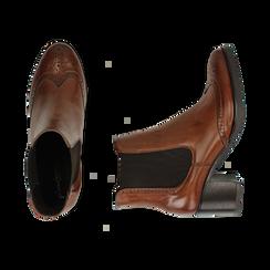 Ankle boots cuoio in pelle, tacco 6 cm , Stivaletti, 147711432PECUOI036, 003 preview